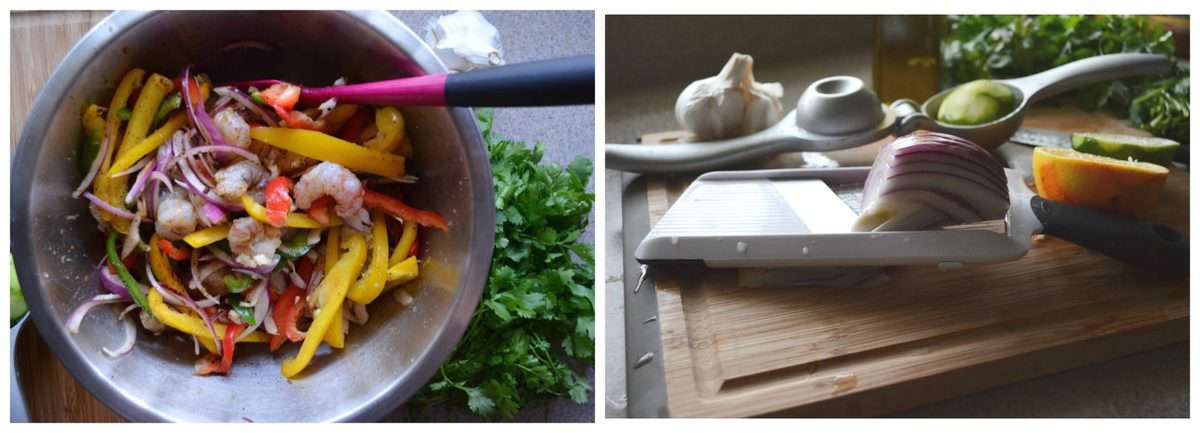 2 photo collage of process of chopping and mixing ingredients for Sheet Pan Citrus Rock Shrimp Fajitas.