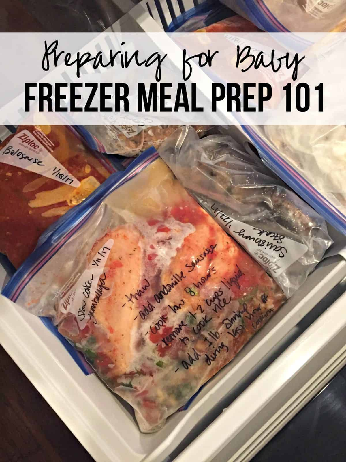 assorted frozen foods in zip lock bags in freezer drawer with title text for pinterest.