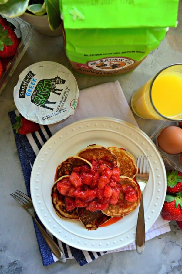 Small Batch Whole Wheat Strawberry Greek Yogurt Pancakes with Strawberry Syrup photo