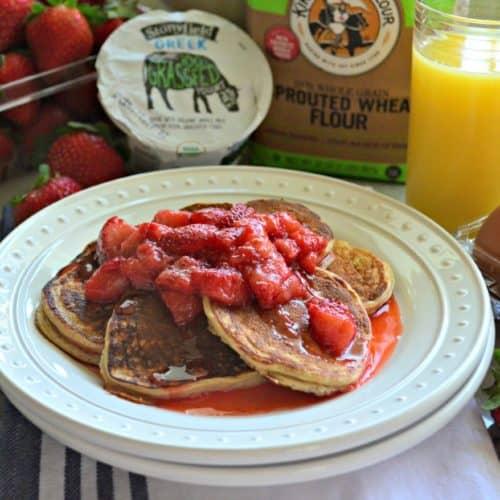 Small Batch Whole Wheat Strawberry Greek Yogurt Pancakes with Strawberry Syrup