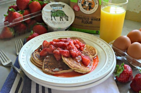 Small Batch Whole Wheat Strawberry Greek Yogurt Pancakes with Strawberry Syrup