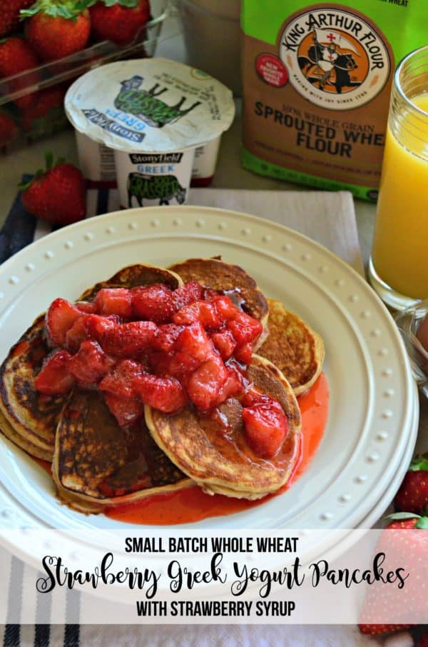 Small Batch Whole Wheat Strawberry Greek Yogurt Pancakes with Strawberry Syrup picture