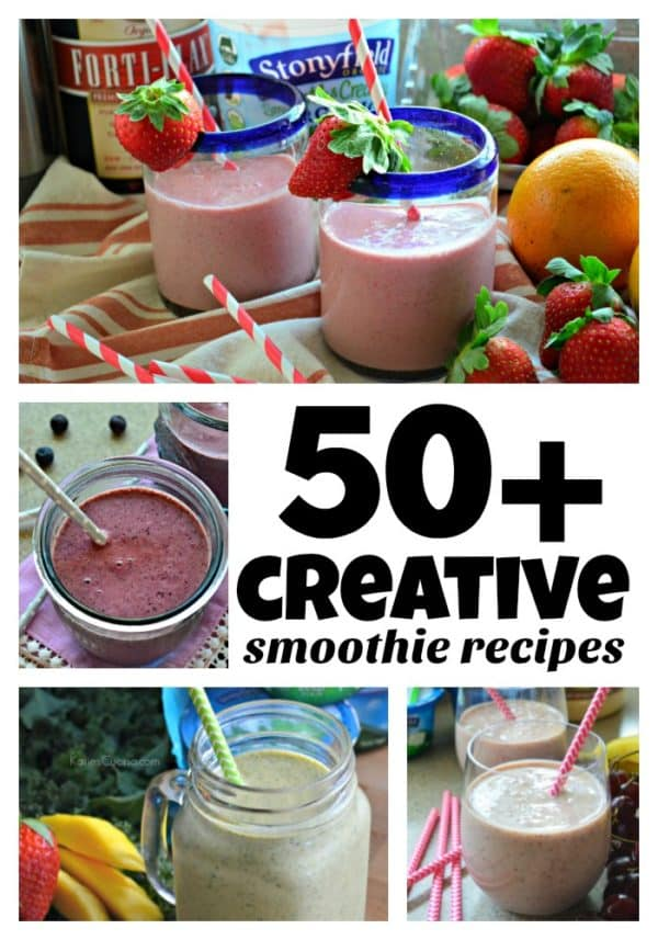 4 photo collage of various smoothies with title text for pinterest.