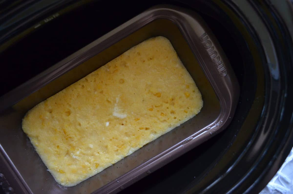 top view of bread pan filled with corn substance.
