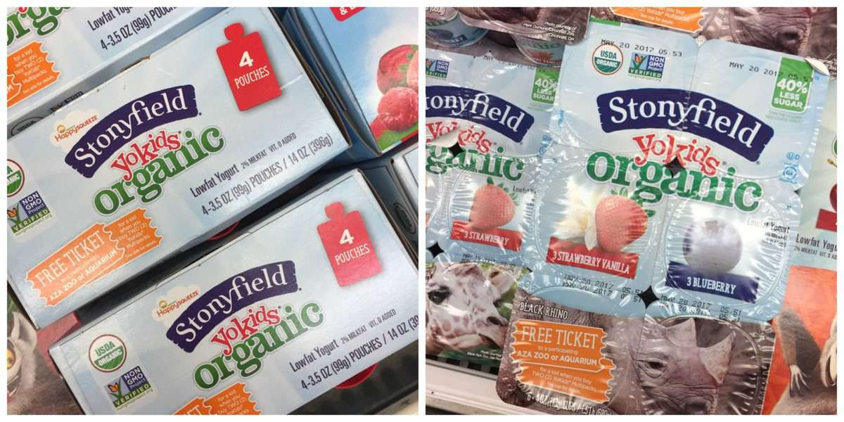 2 photo collage of Stonyfield Organic YoKids packaging.