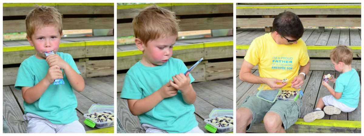 3 photo collage of father and son sitting on wooden steps enjoying mini muffins.