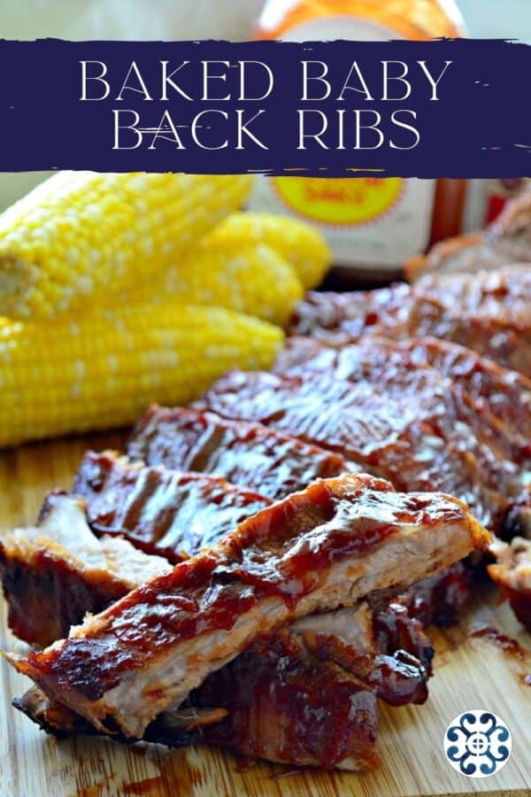 Ribs sliced on a wood cutting board with recipe title text on image for Pinterest.