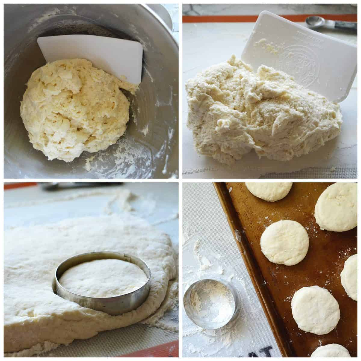 Four process shots of dough being scraped out of a bowl, cut, and placed on baking sheet.