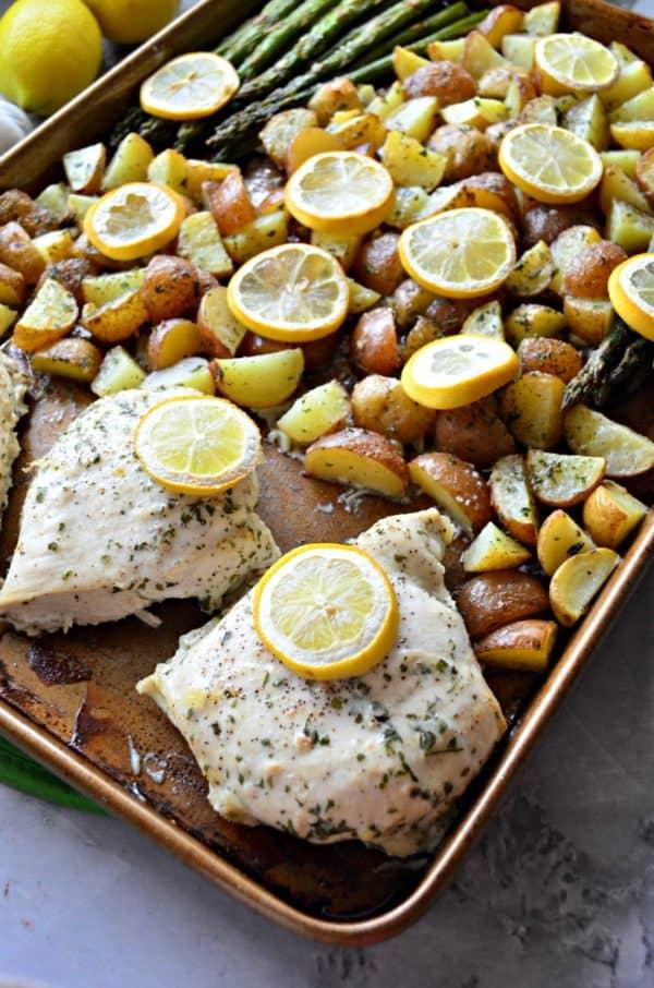 Sheet Pan Lemon Garlic Chicken Dinner