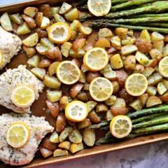 Sheet Pan Lemon Garlic Chicken Dinner recipe