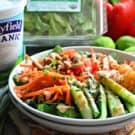 Thai-Inspired Kale & Shrimp Salad with Yogurt Peanut Dressing