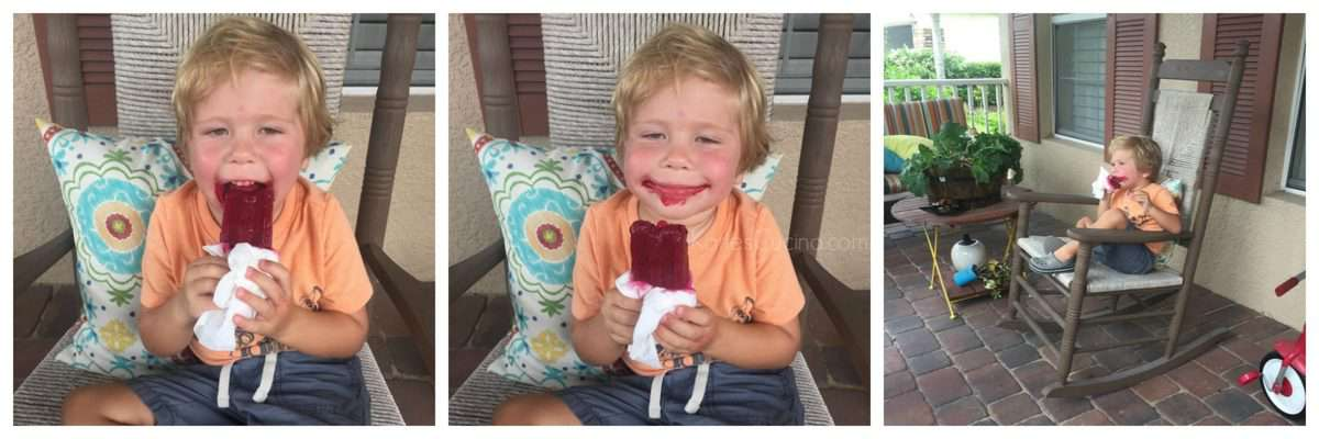 3 photo collage of toddler eating red popsicle in rocking chair with a huge red smile on his face.