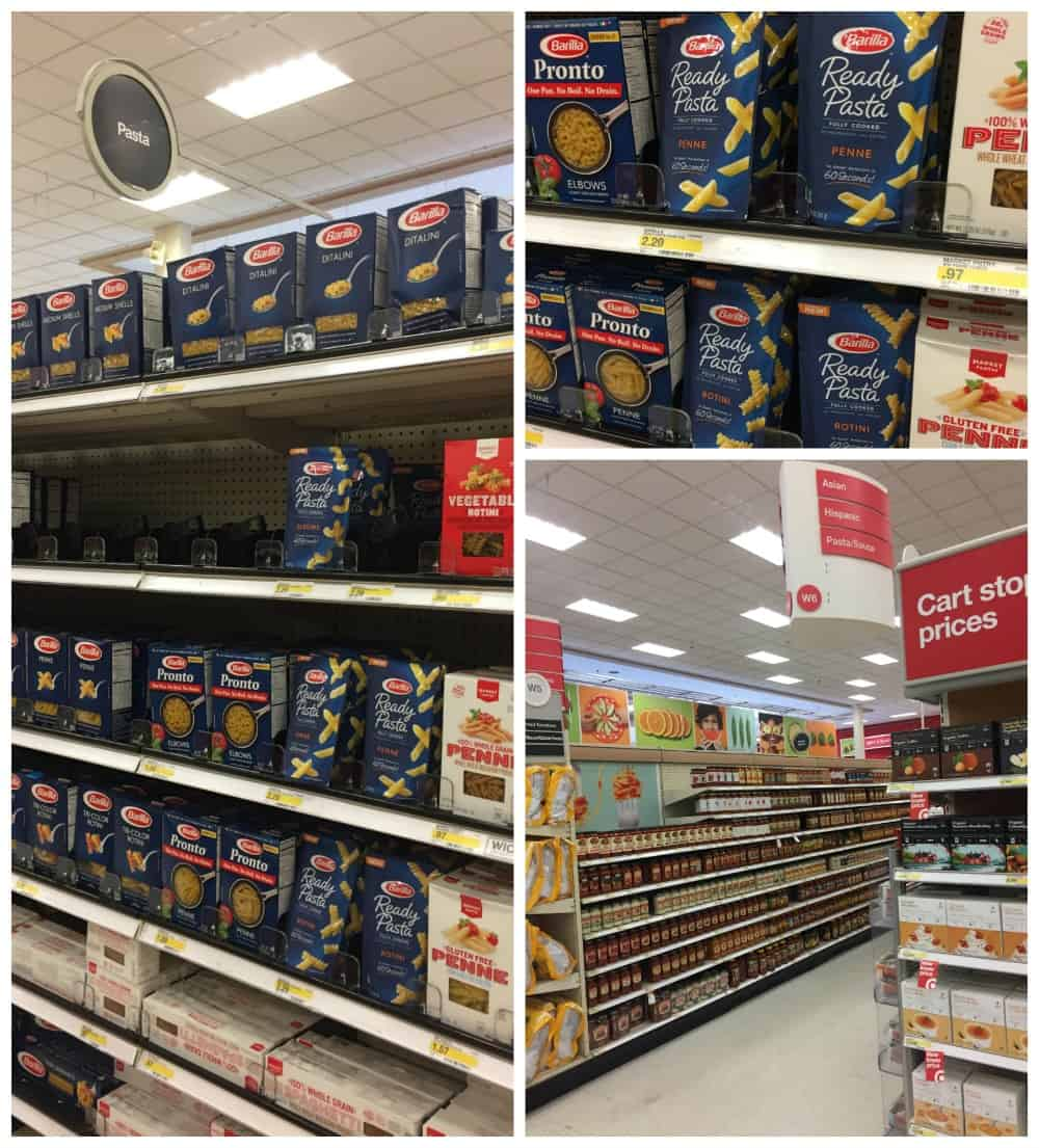 3 photo collage of barilla ready pasta in Target Superstore with aisle and shelf views.