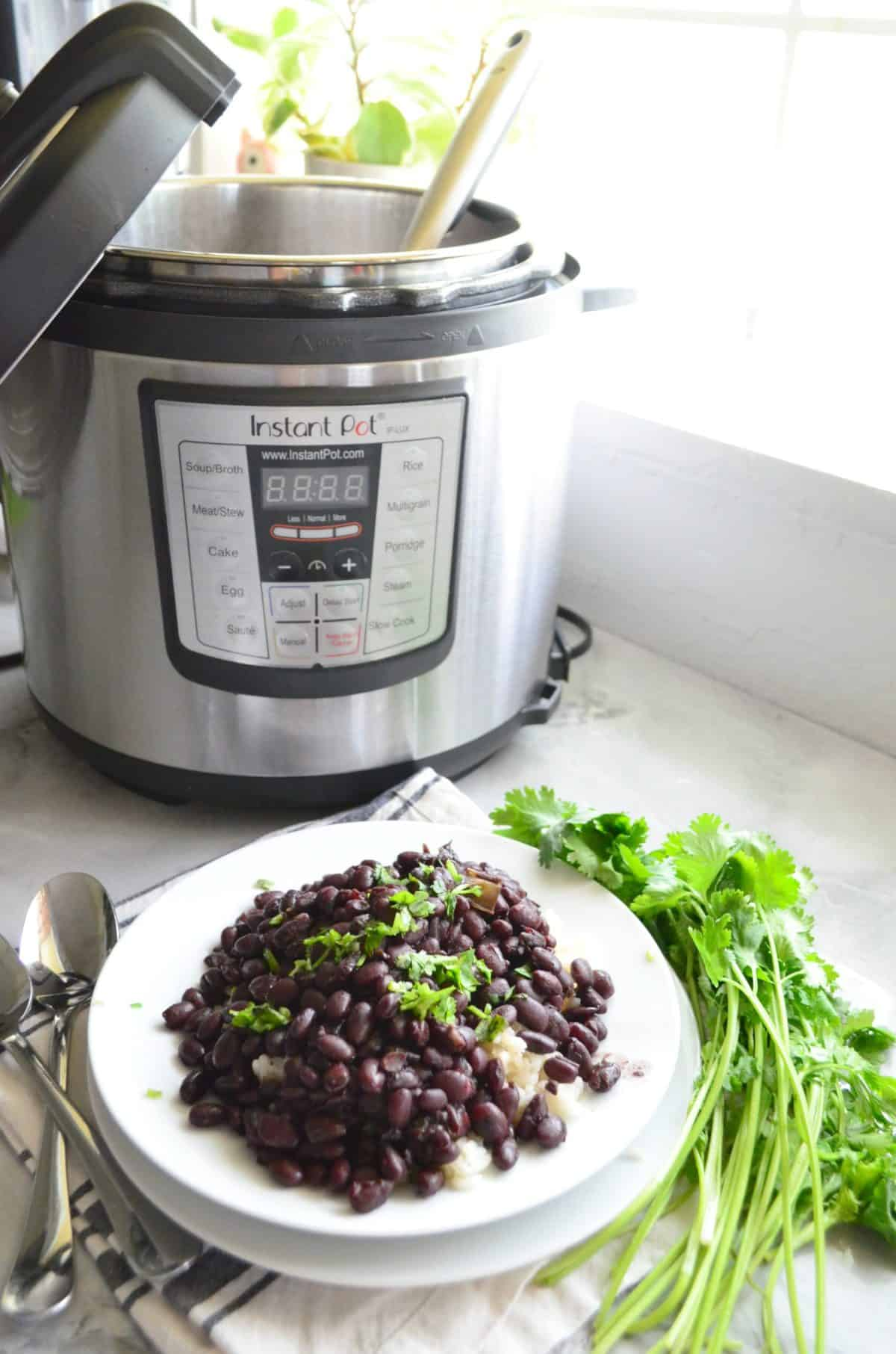 black beans with chopped fresh cilantro over bed of white rice on white plate in front of instant pot.