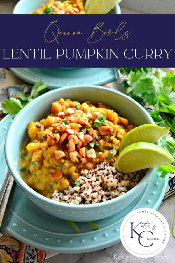 Two aqua bowls filled with curry and quinoa with recipe title text on image for Pinterest.