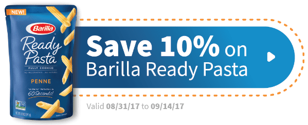 coupon with barilla logo that says Save 10% on Barilla Ready Pasta.