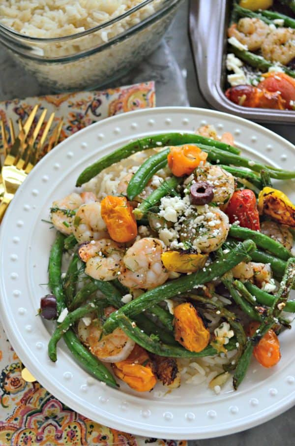 Sheet Pan Greek Shrimp Dinner