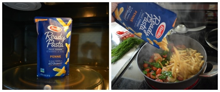 two photo collage of Barilla Ready Pasta in bag in microwave, then being poured into pot with ingredients.