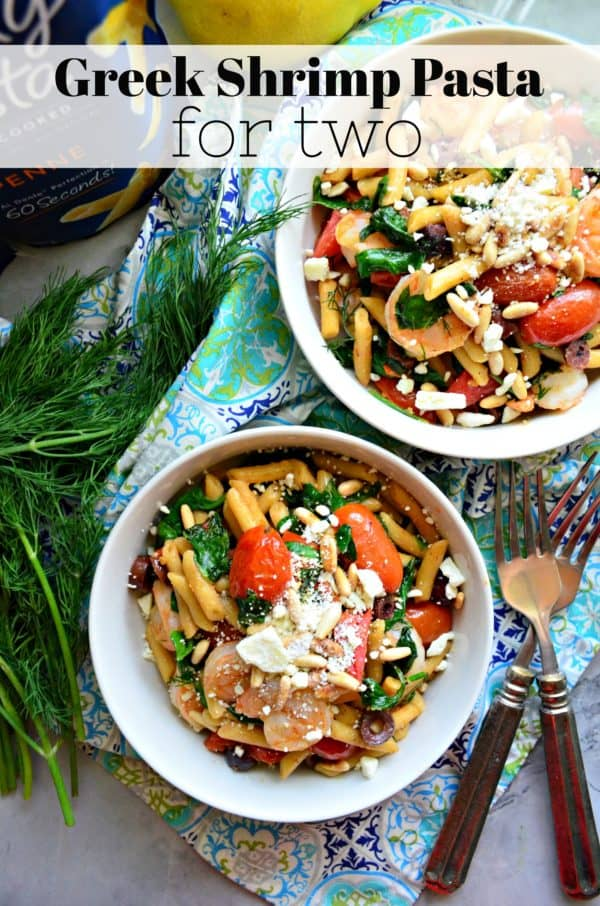 Greek Shrimp Pasta for Two Process Steps