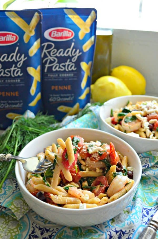 Greek Shrimp Pasta for Two Fork Photo