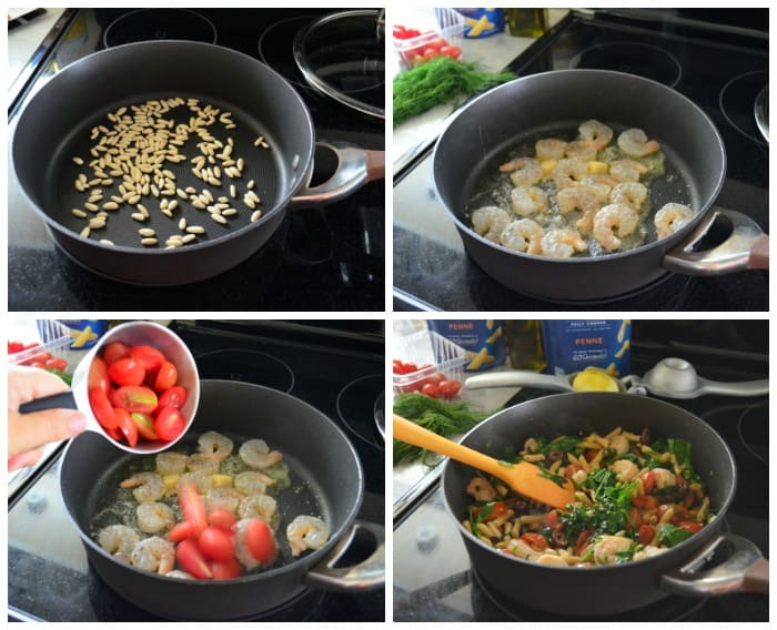4 photo collage of process of cooking ingredients for pasta dish in one pan.