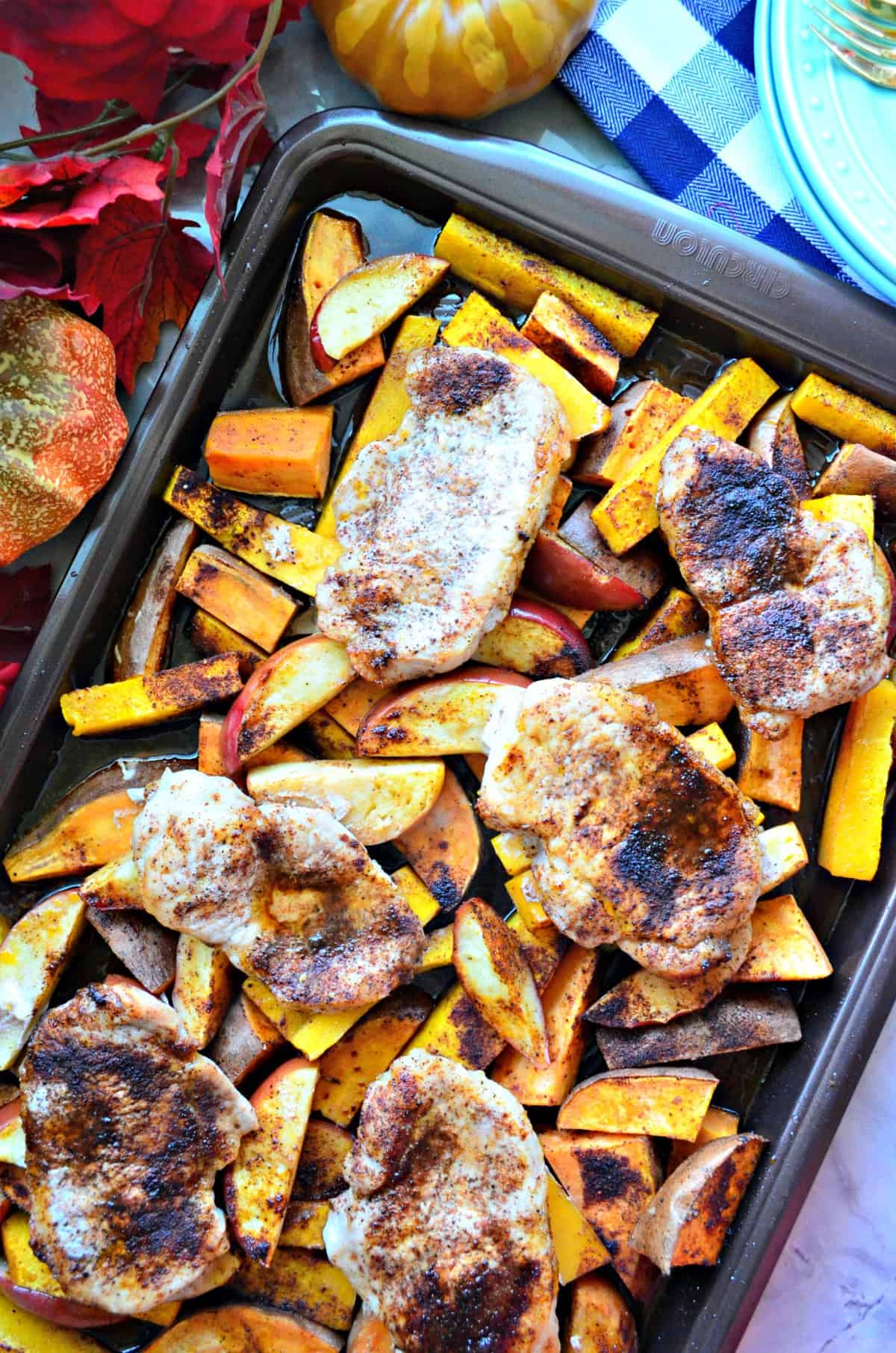 Sheet Pan Harvest Pork Chop Dinner