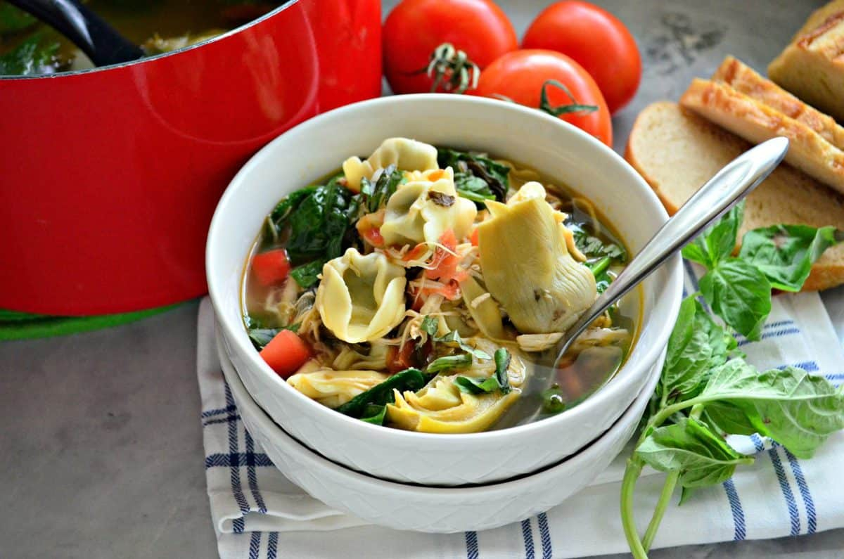 Lemon Artichoke Chicken Tortellini Soup