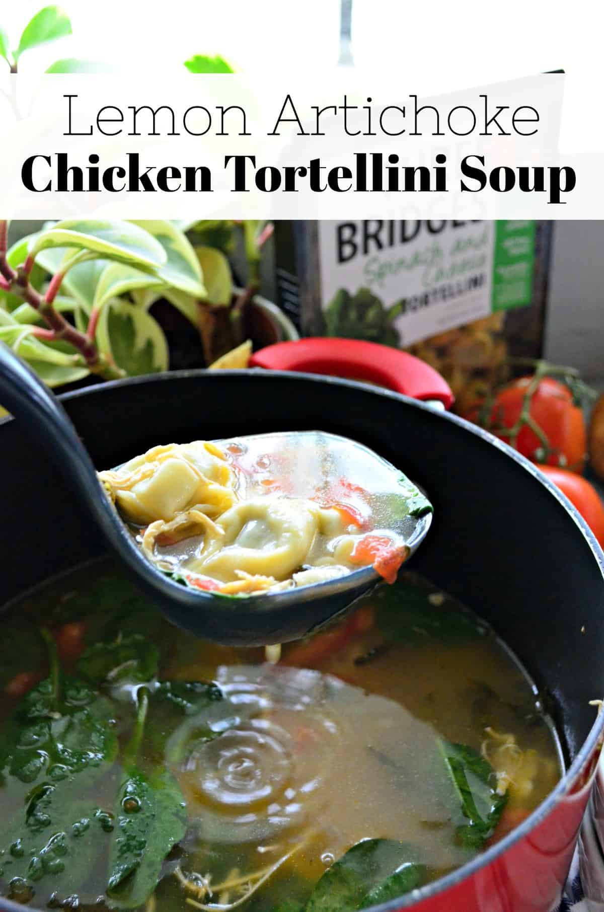 spinach, tomato, chicken, and broth in ladle held over pot of soup with title text.