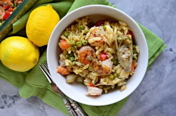One Pan Lemon Artichoke & Shrimp Orzo