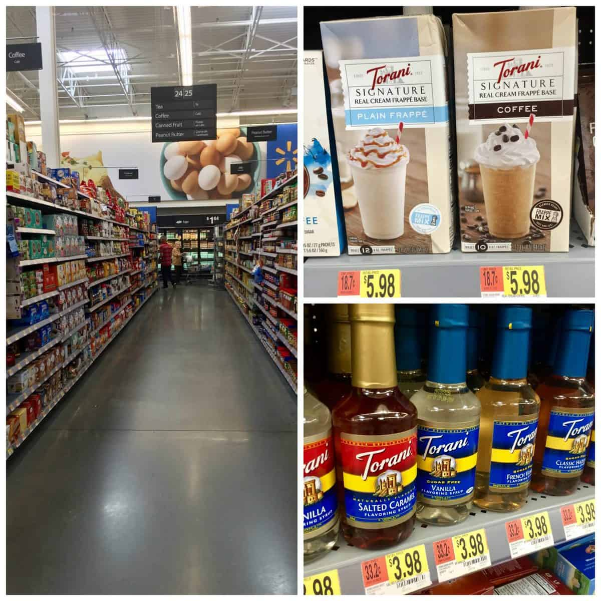 3 photo collage of Torani Real Cream Frappe Mix at Walmart in aisle and on shelf.