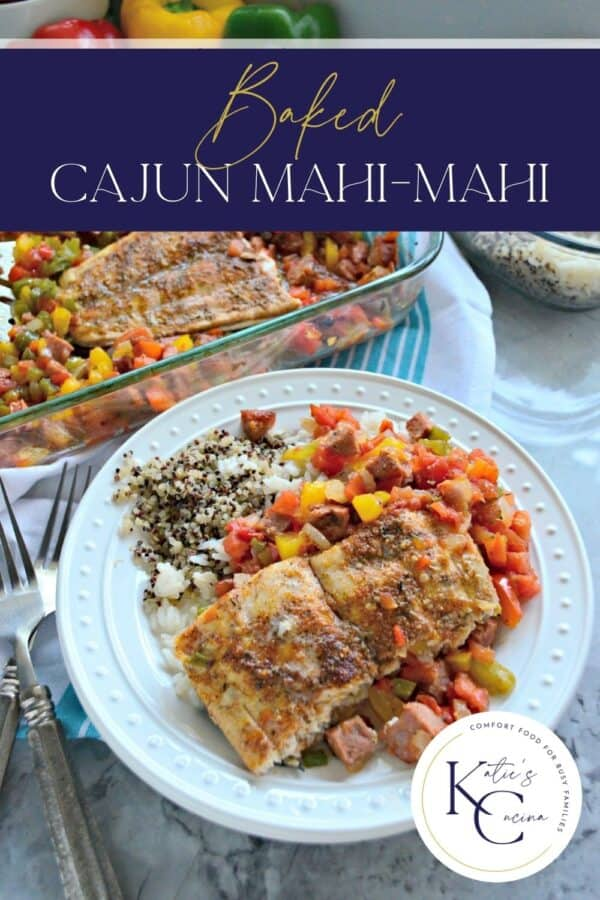 White plate filled with mahi fish fillet with rice and vegetables and recipe title text on image.