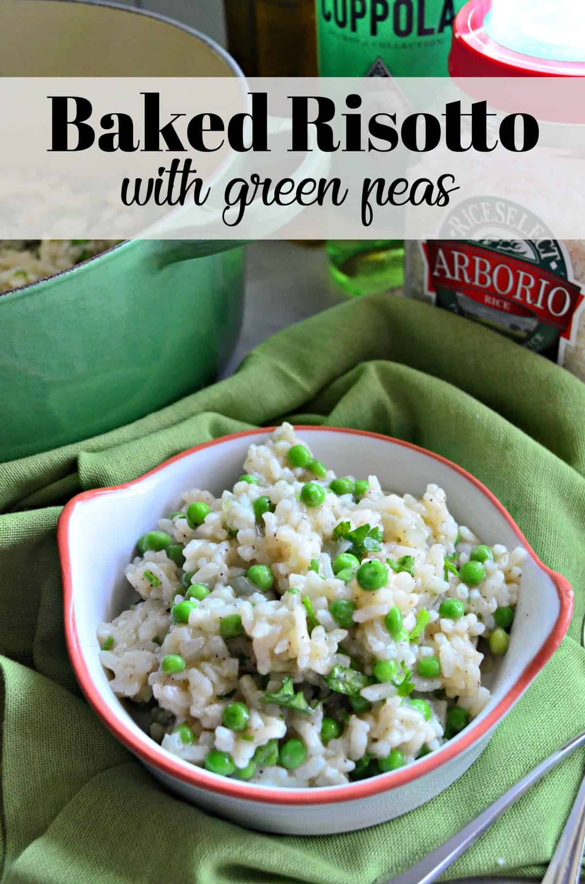 Baked Risotto with Green Peas and pepper in small white bowl on green tablecloth with title text.