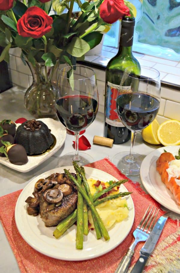 Irresistible Valentine's Meal for Two: Filet Mignon, Lobster Tail, Sides, Dessert & Roses
