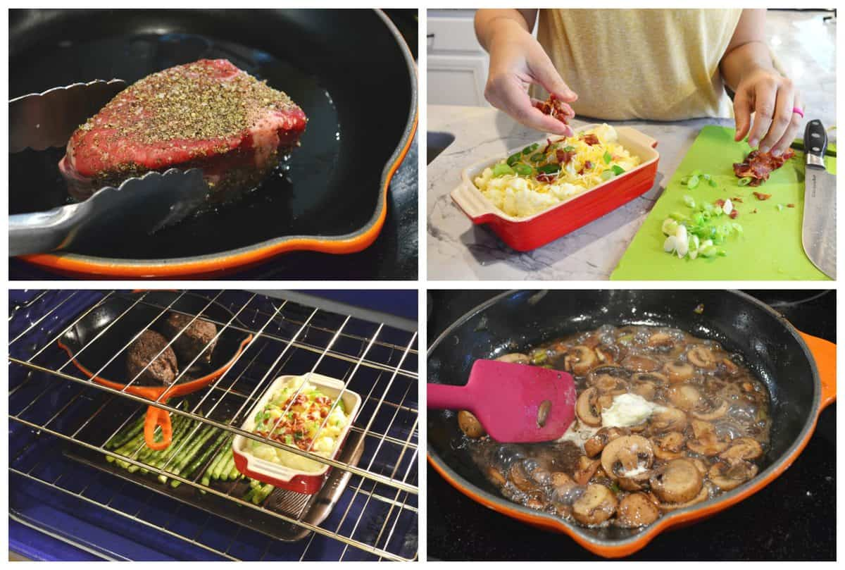 4 photo collage of steak dinner being made with veggies being chopped, steak in skillet, and items in oven.