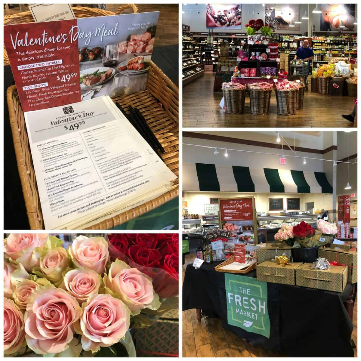 4 photo collage of The Fresh Market on Valentine's Day with roses for sale and special meal deals.