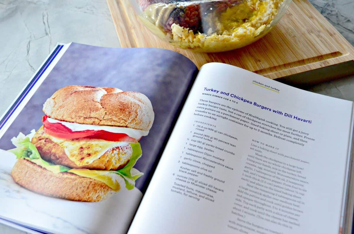 cookbook opened up to recipe for Turkey and Chickpea Burger with Dill Havarti.