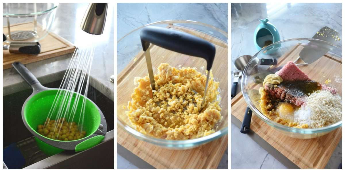 3 photo collage of process of making Turkey and Chickpea Burger patties.