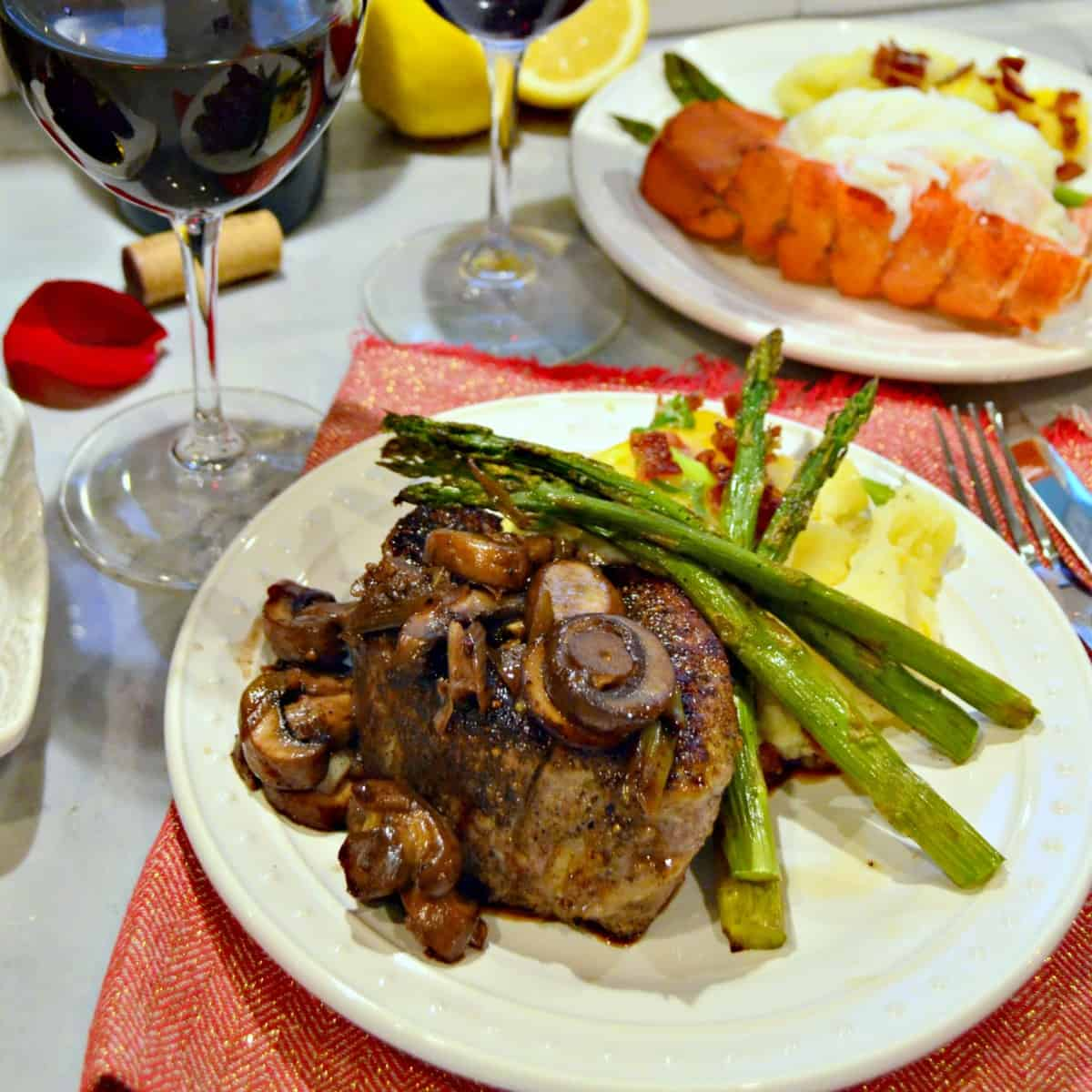 Irresistible Valentine's Meal for Two: Filet Mignon, Lobster Tail, Sides, Dessert & Roses ...