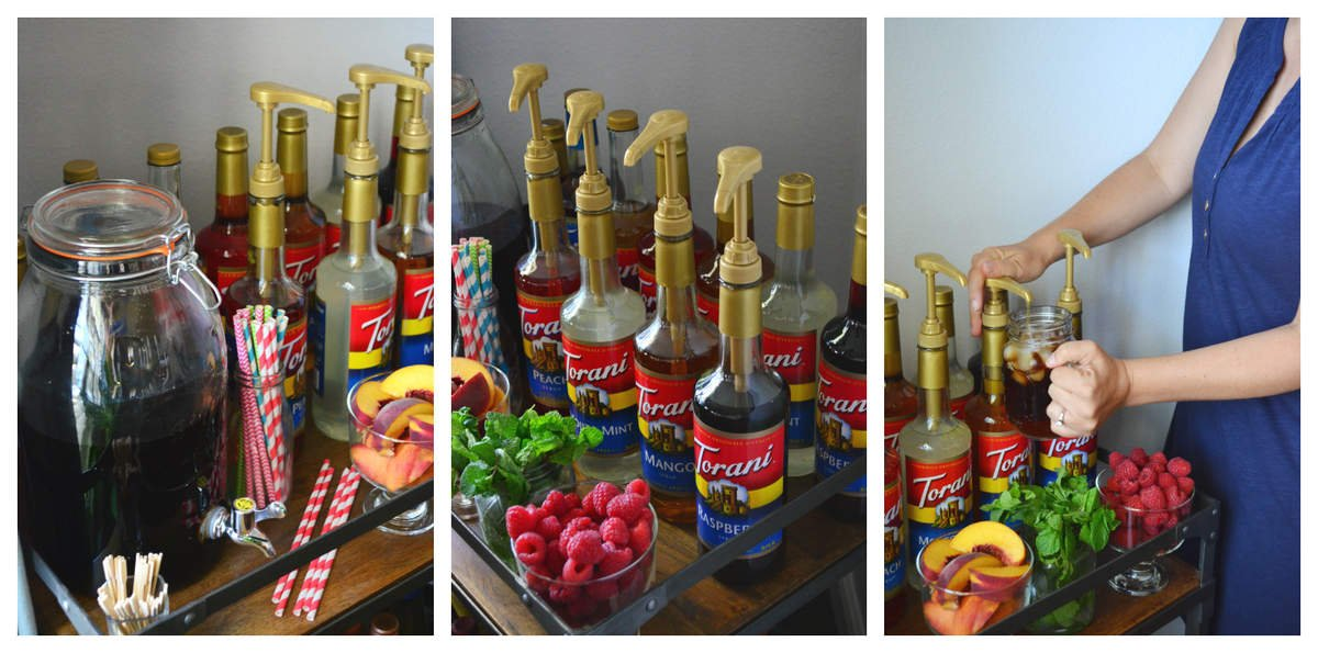 3 photo collage of bar cart with 10 torani syrup flavors decoratively placed with garnish options.