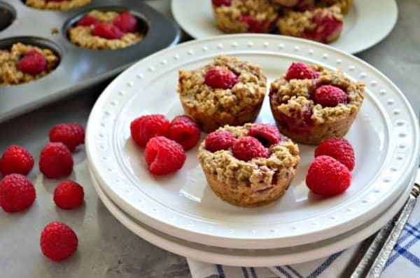 Banana Raspberry Oatmeal Muffins
