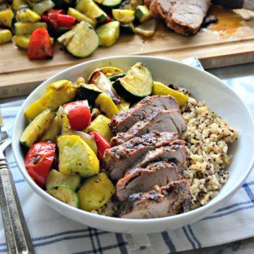 Roasted Garlic & Cracked Black Pepper Pork Tenderloin Brown Rice & Veggie Bowls