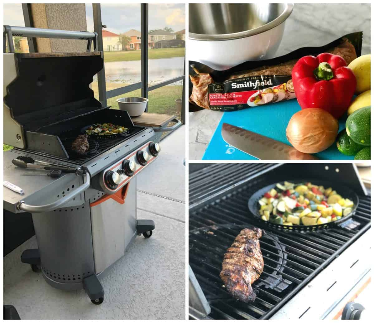 3 photo collage of cooking process for Smithfield Marinated Fresh Pork and veggies on the grill.