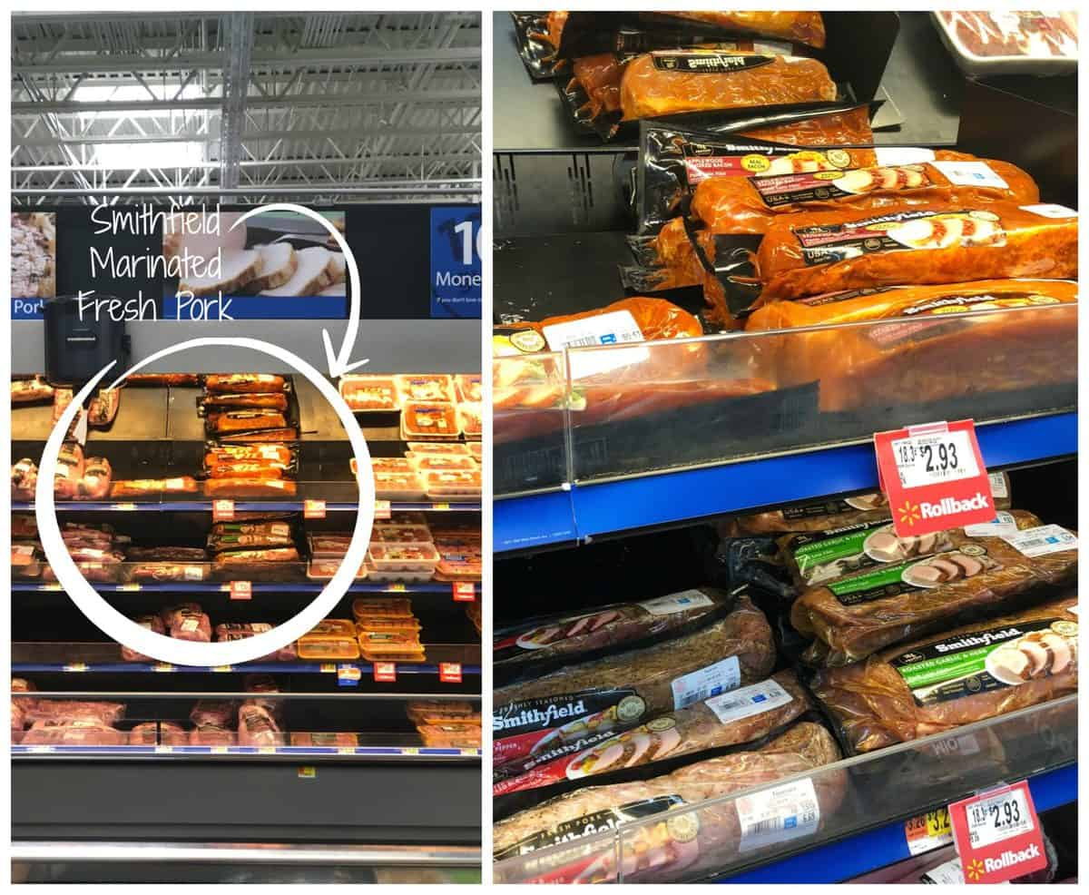 2 photo collage of packaged Smithfield Marinated Fresh Pork in Walmart aisle and shelf view.