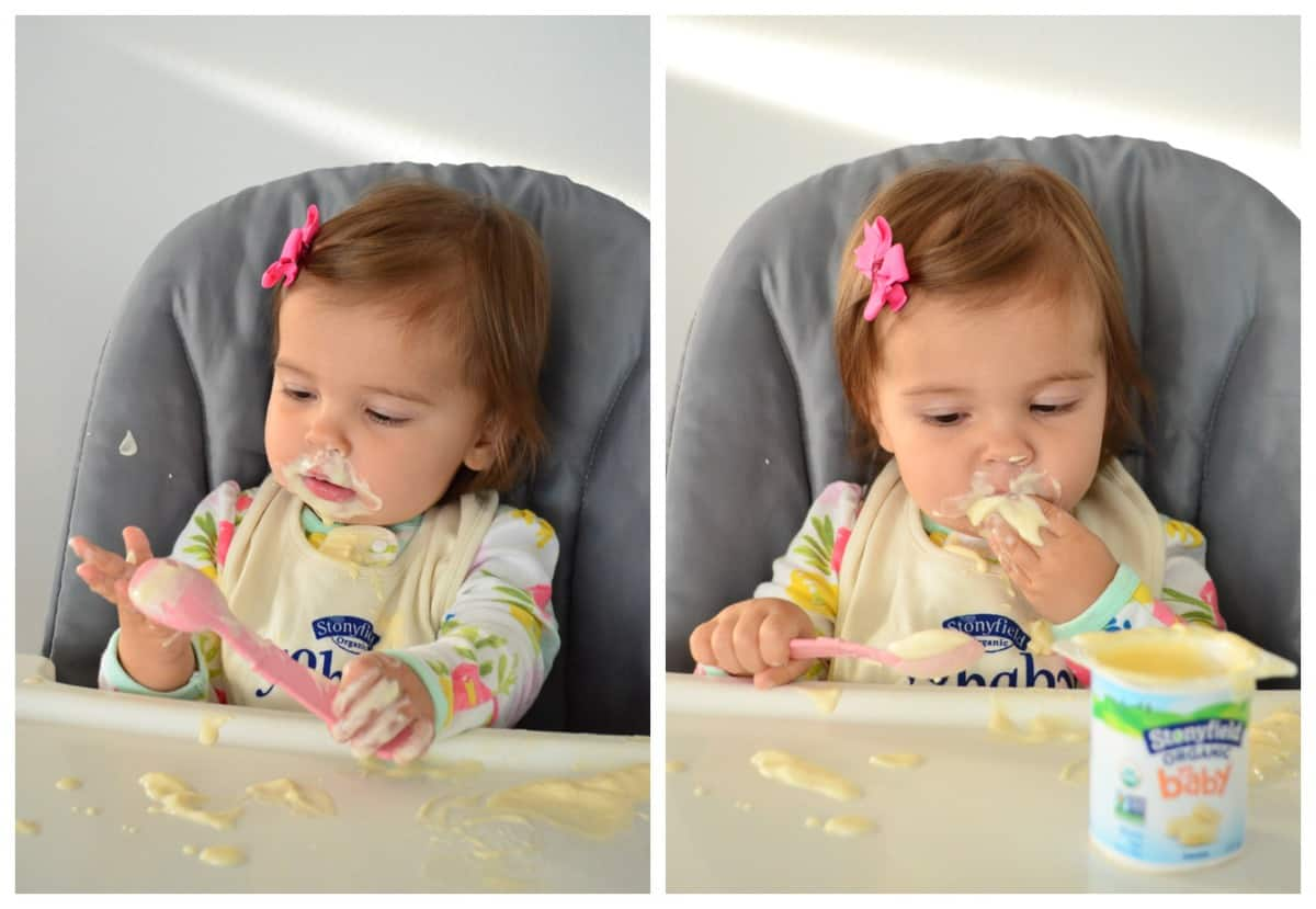 2 photo collage of young girl enjoying yogurt at a high chair seat with yogurt all over her face.