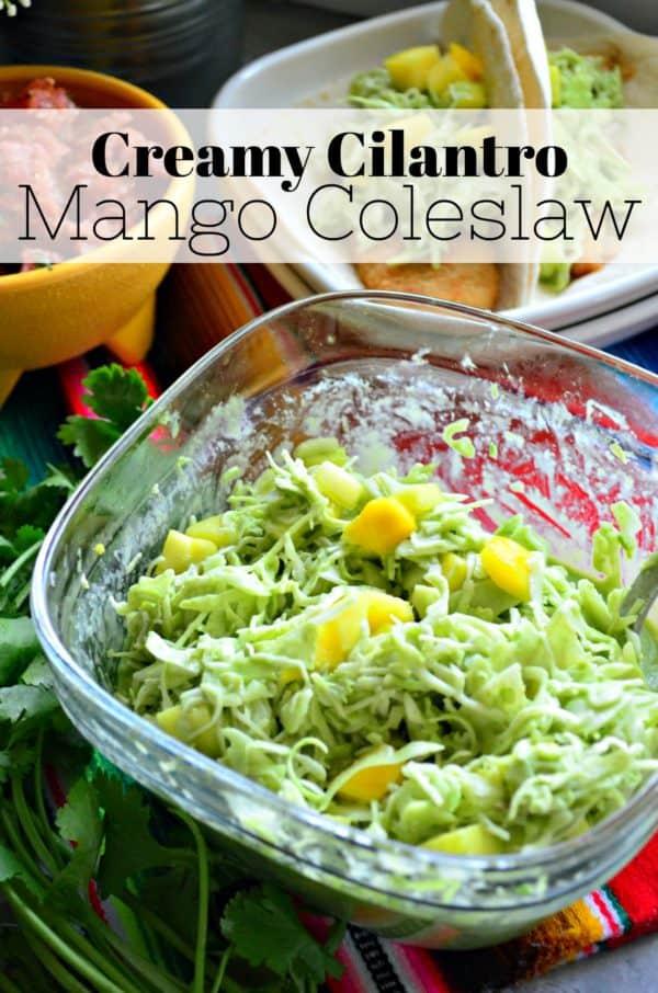 Creamy Cilantro Mango Coleslaw