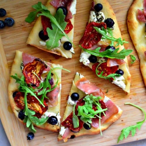 Prosciutto and Blueberry Naan Flatbread