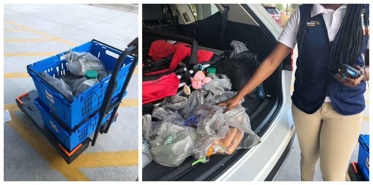 2 photo collage of bagged items from walmart, one with items in cart and one with bags in car.