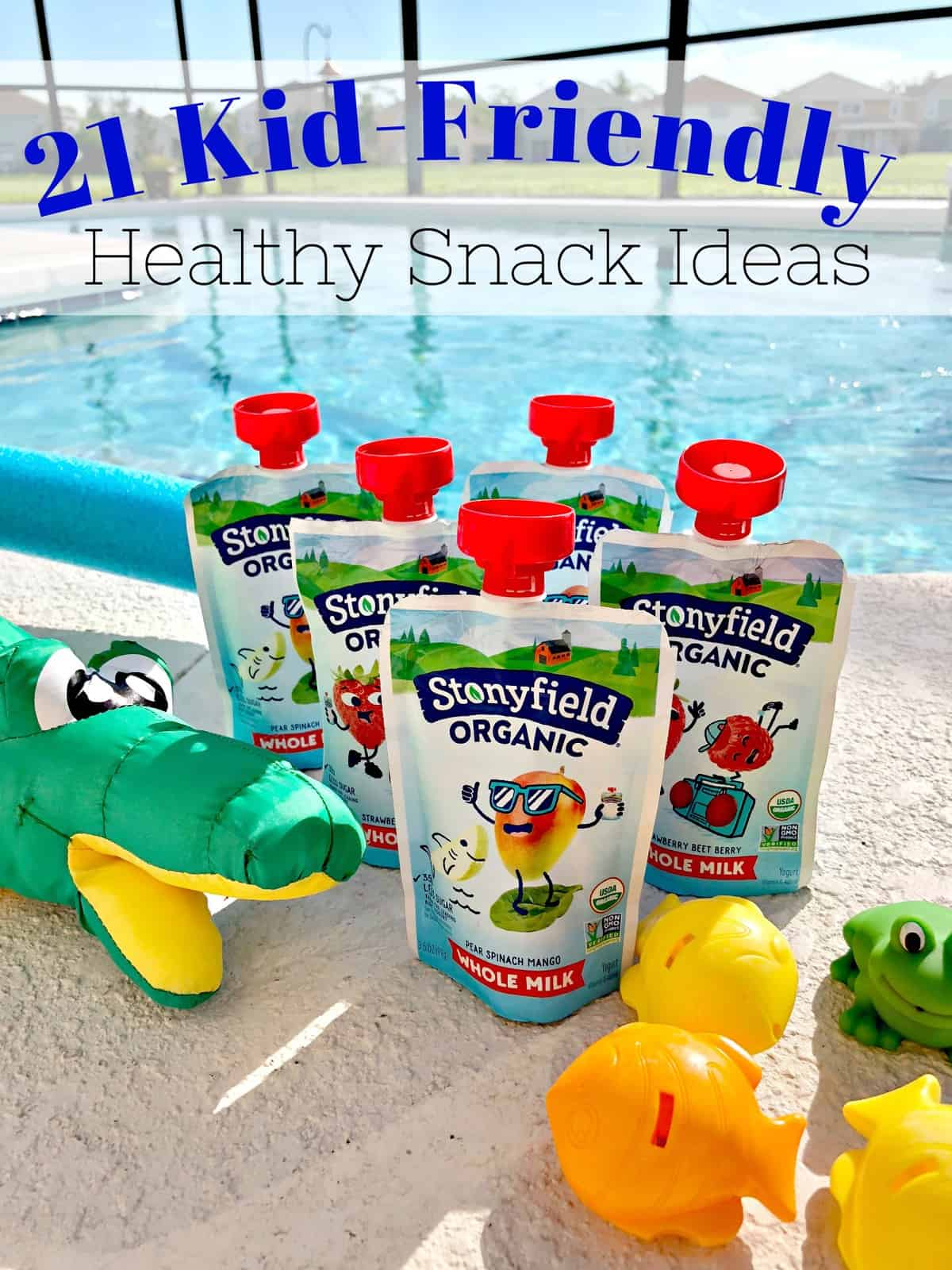 5 snack sized stoneyfield organic kid's squeeze packs next to pool toys by the pool with title text.