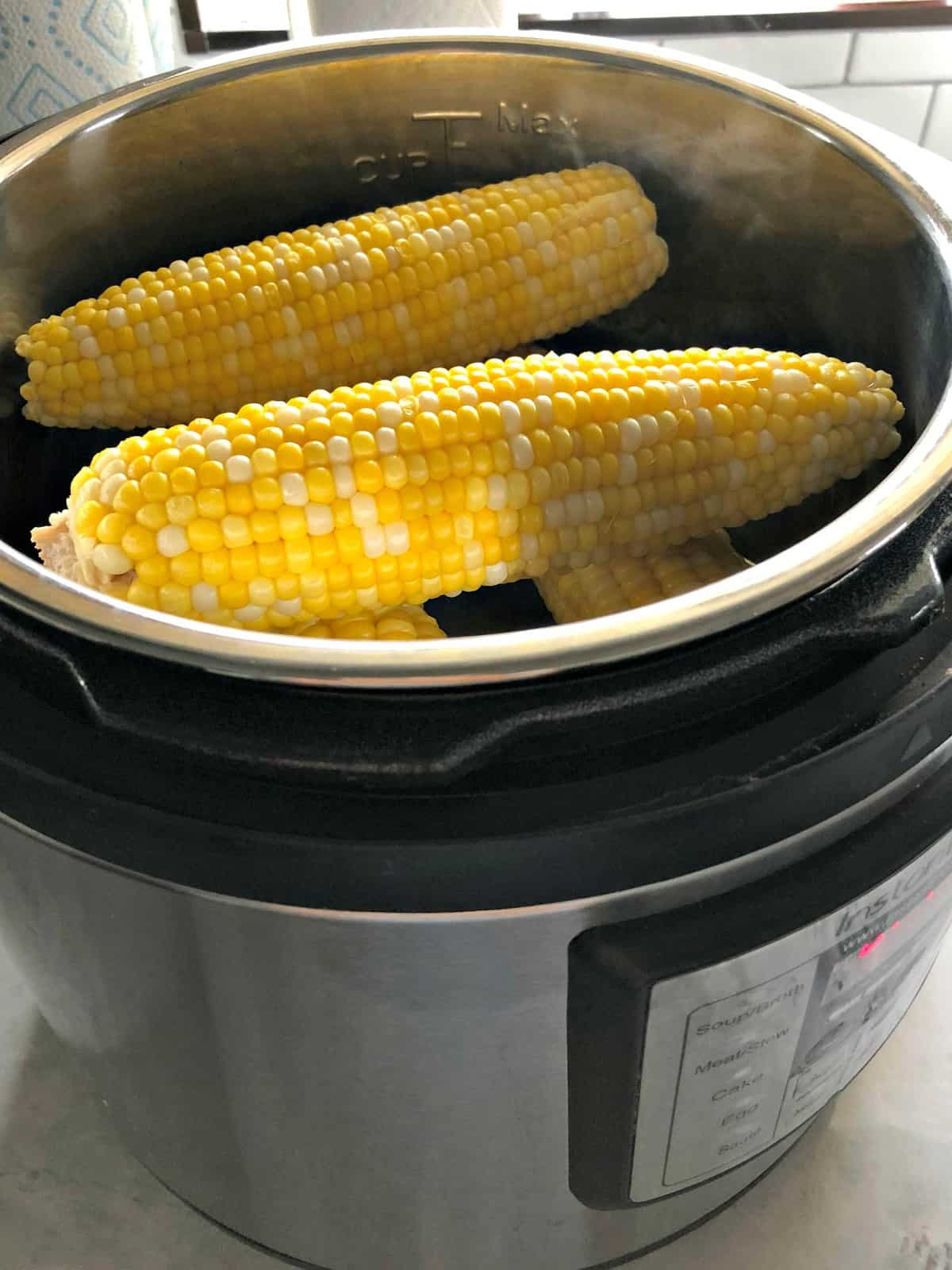 side view of corn on the cob in instant pot.