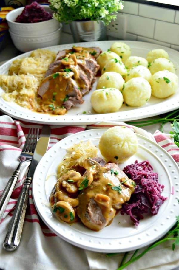 Polish Feast - Pork Roast with Potato Dumplings and Sauerkraut